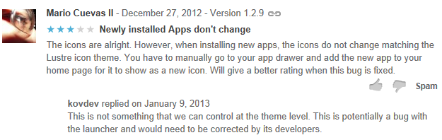 google play Comments respond
