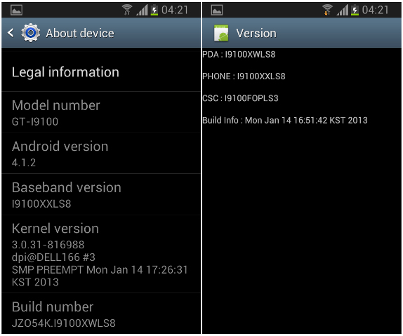 International Samsung Galaxy S2 Android 4.1.2