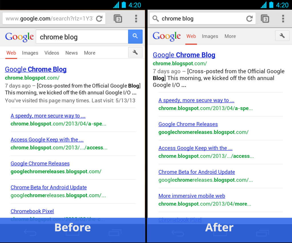 Chrome for Android Simpler Search
