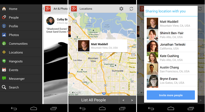 google+ location tab on android app