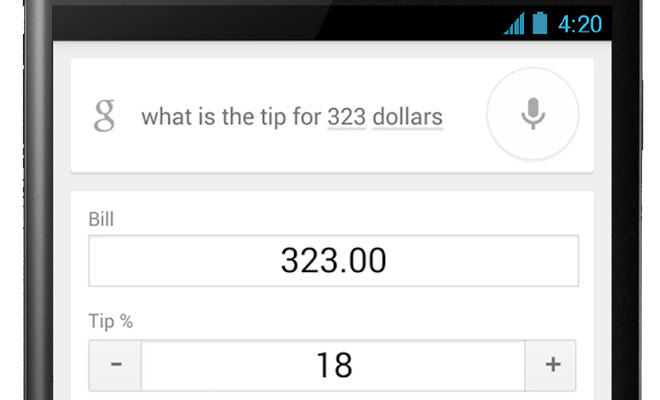 google search app updated with a tip calculator goandroid