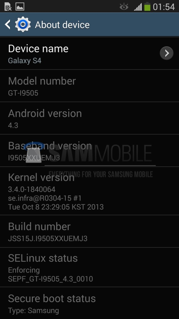 samsung galaxy s4 international android 4.3 update