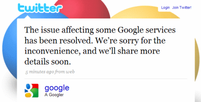 Google Mail Outage