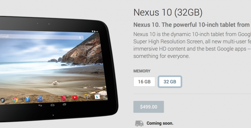 Nexus 10 tablet 2014