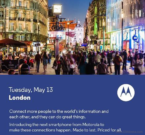 Motorola to announce a new device on May 13