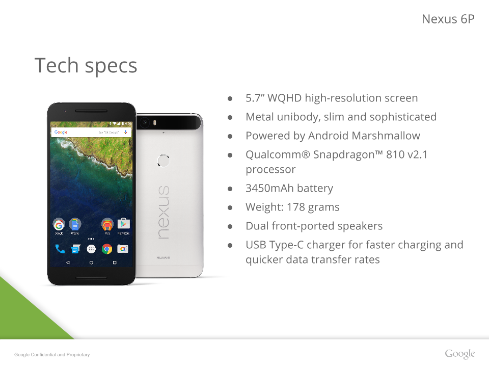 nexus 6p tech specs