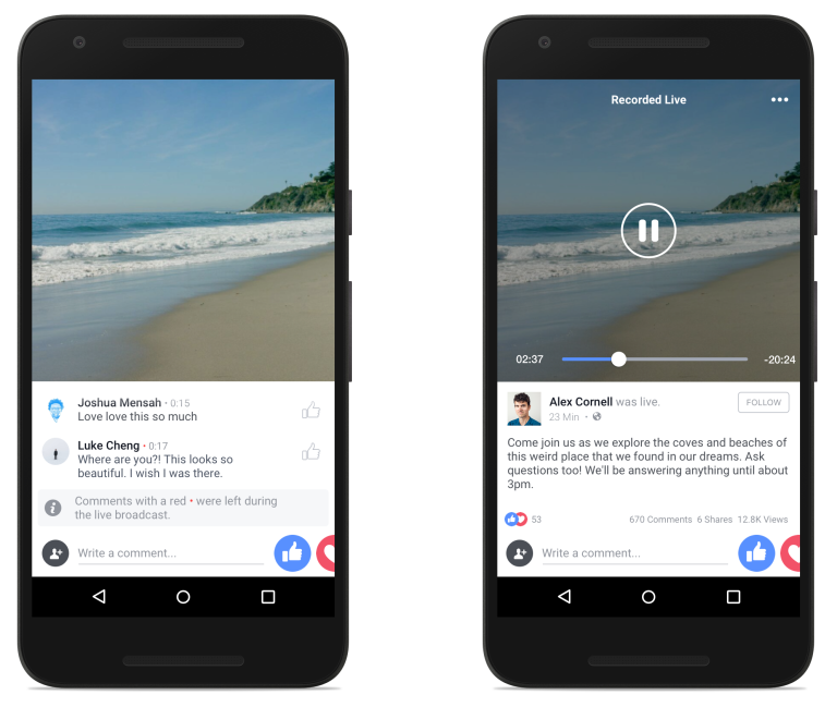 facebook live streaming feature