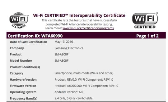 Samsung Galaxy A8 Marshmallow update