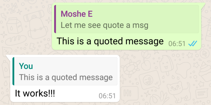whatapp quote feature