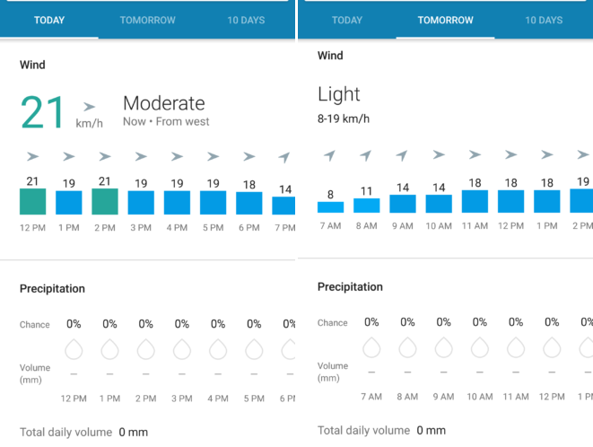 google now weather card update