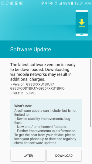 Galaxy S7 Edge security Patch
