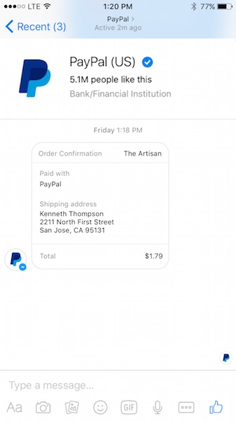 FB Messenger Paypal Support