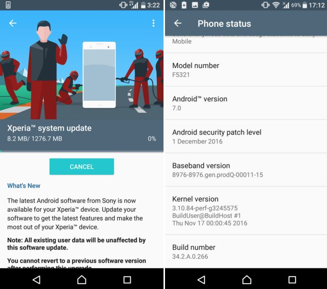 android nougat xperia x and x compact