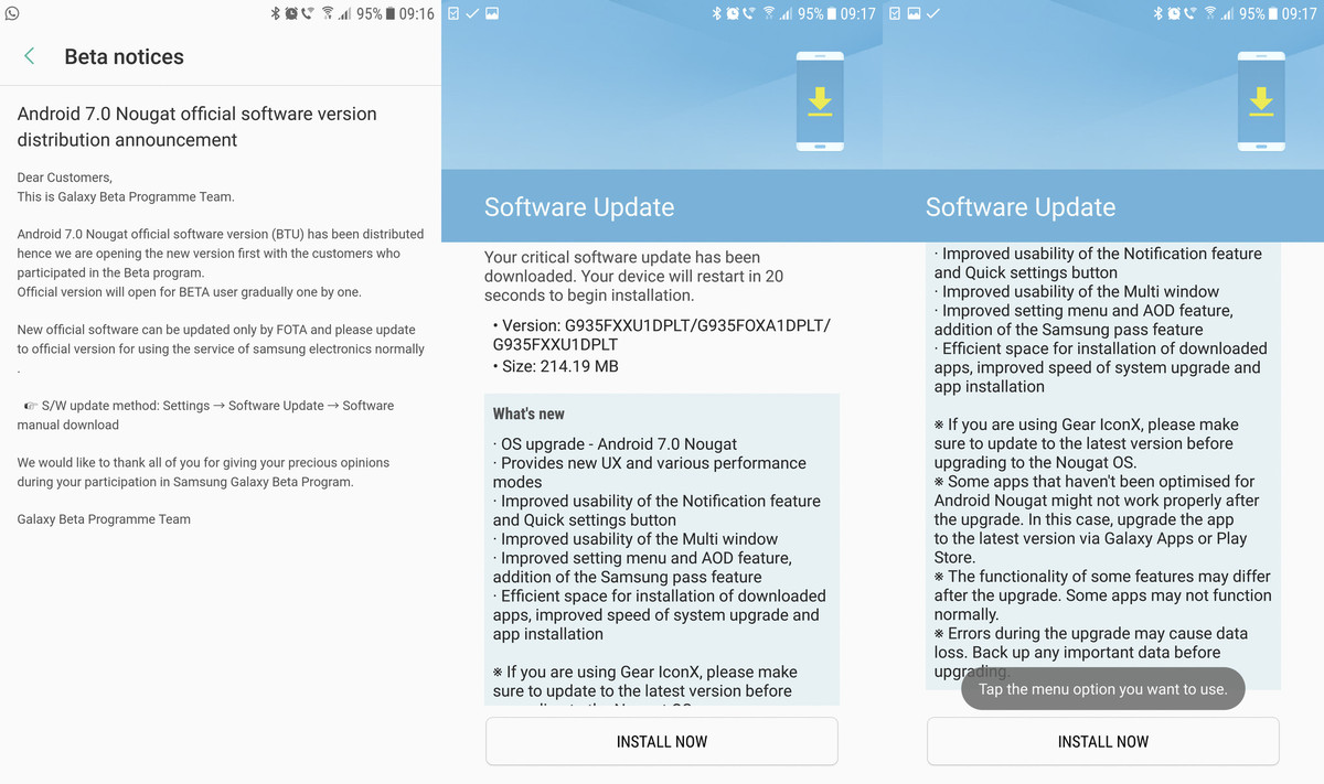 Stable Android 7.0 Nougat Update