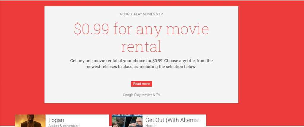 google play movies .99 for any movies rental