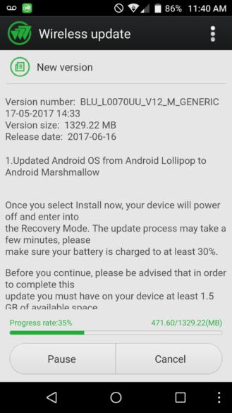 BLU Life One X Android 6.0 marshmallow update