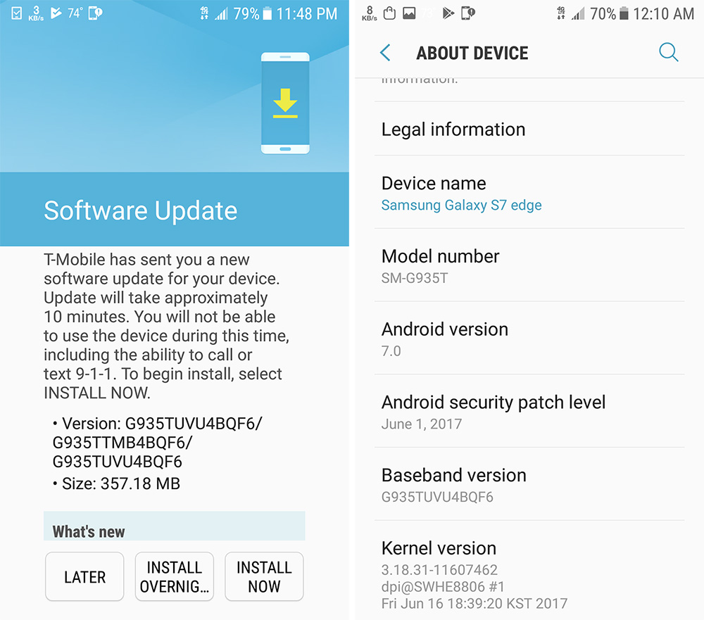 T-Mobile Smasung S7 and S7 Edge June Security Patches