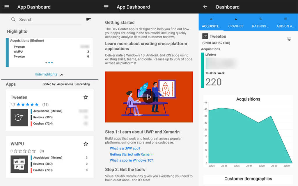 Windows Dev Center app