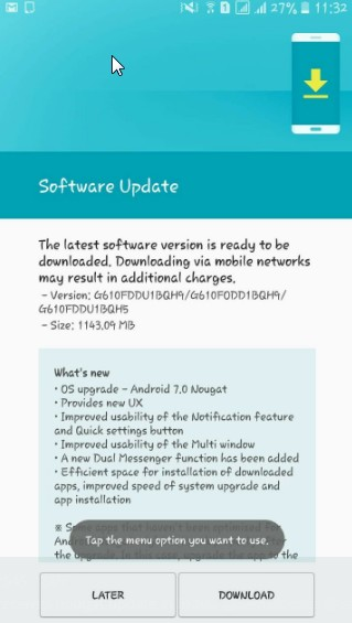 Android 7.0 to the Galaxy J7 Prime