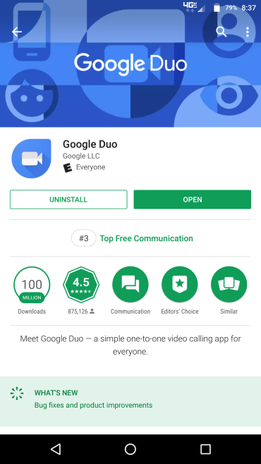 Google Duo android application ranking