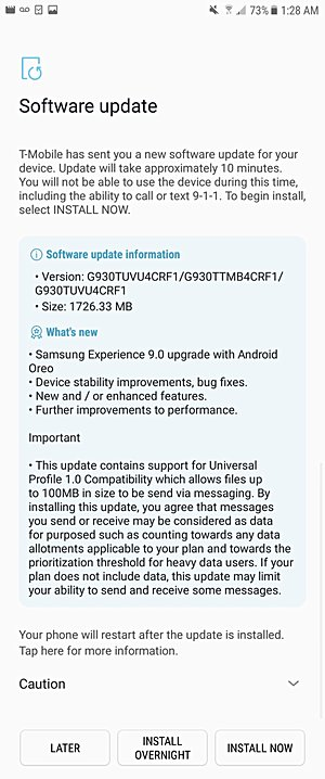 T-Mobile Galaxy S7/S7 Edge oreo Update