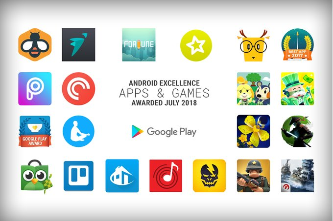 list of Android Excellence Apps and Games for Q3 2018