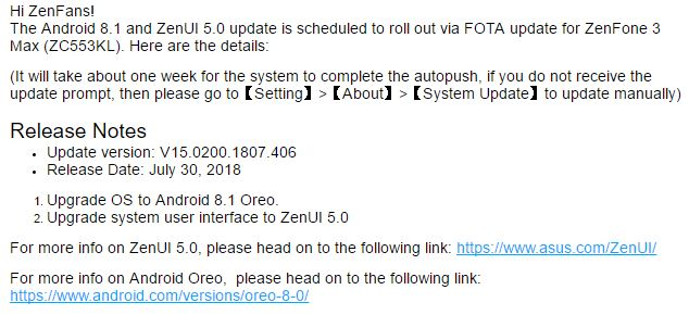 Asus releases Android 8.1 Oreo Update for Zenfone 3 Max