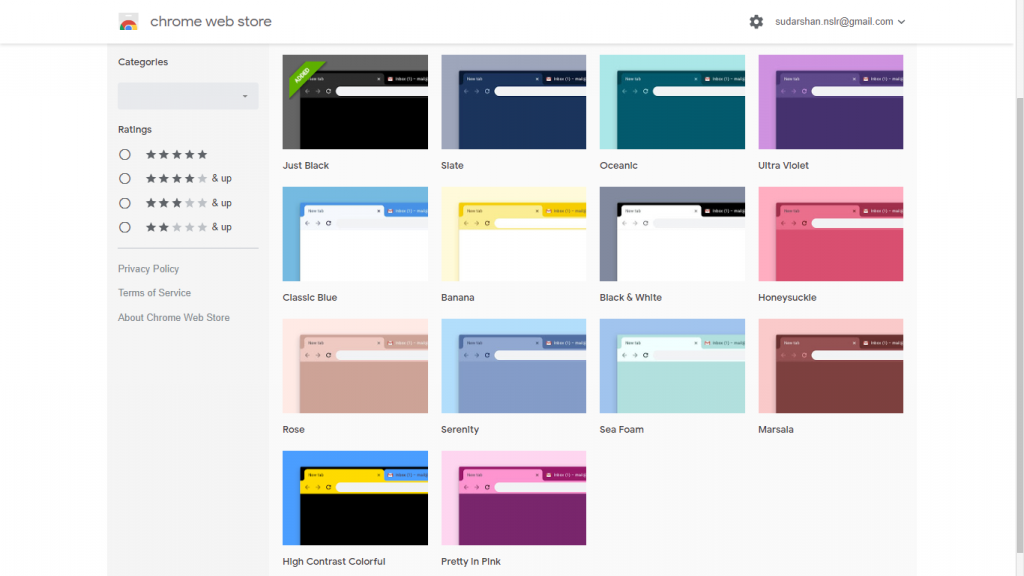 google chrome new themes