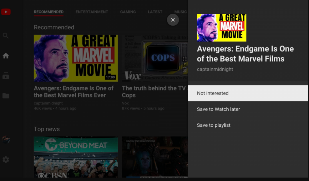 Youtbe for Android Tv update