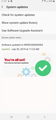 July Security patch on Galaxy Note 8