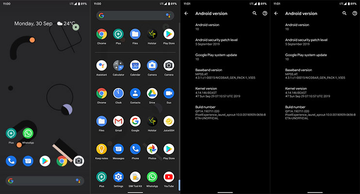 Screenshots of PixelExperience ROM for Xiaomi mi A3