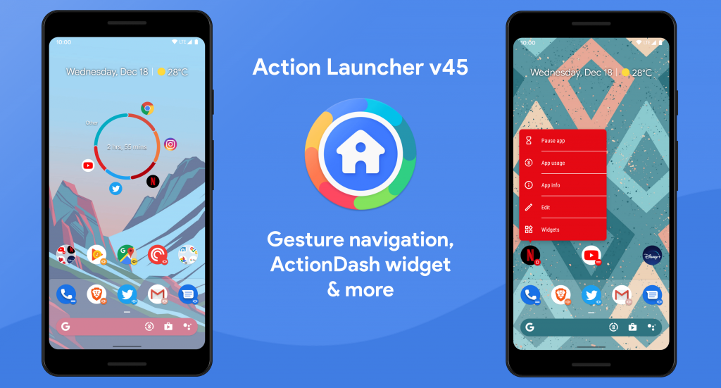 Action Launcher v45 Android 10 Gesture Navigation Support