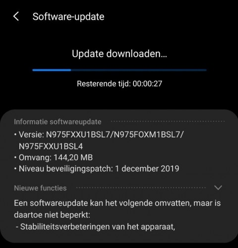 Galaxy Note10  android 10 stable update
