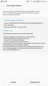 galaxy s7 january 2020 security patch
