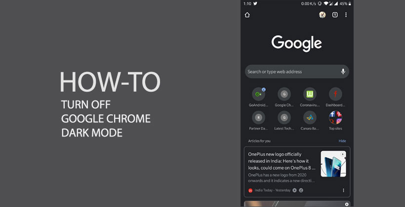 tURN OFF CHROME DARK MODE