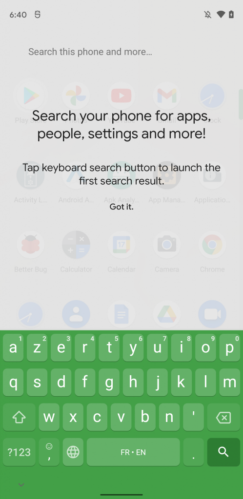Android 12 DP 2 device search bar