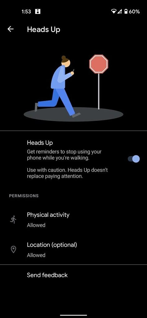 """Heads up"" feature"
